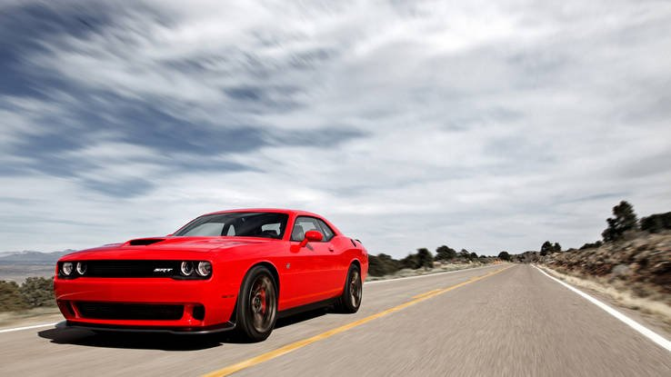 red Dodge Demon on road