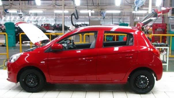Mitsubishi Mirage in factory