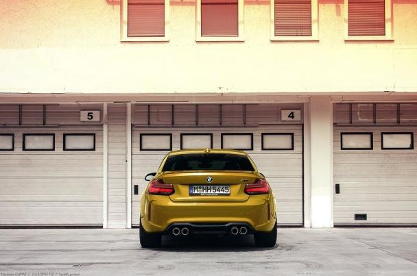 The rear of 2018 BMW M2 Facelift