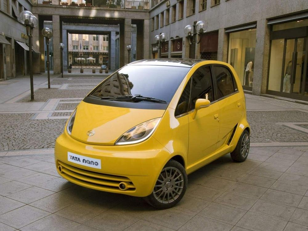 angular front of yellow Tata Nano