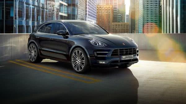 Blue Porsche Macan angular front