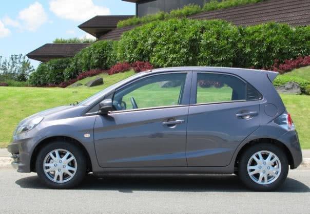 Grey Honda Brio side view