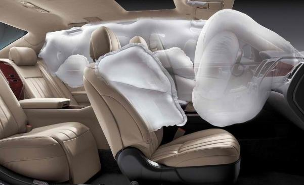 Airbags is deploying inside a car