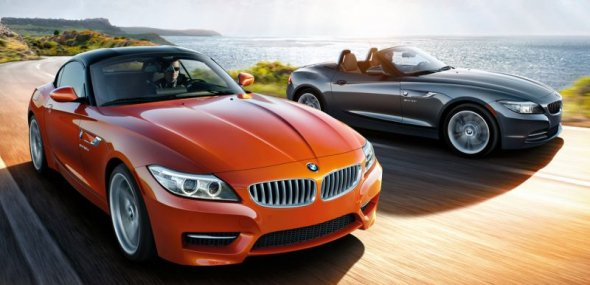 BMW Z4 and Toyota Supra on the road