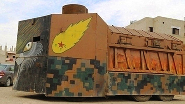 side view of a Colorful armored vehicle of Kurds