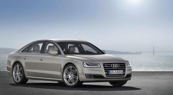 Angular front view of the next-gen Audi A8