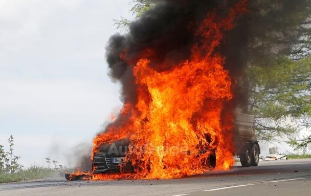 Audi A7 test mule on fire