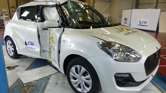 broken side of a suzuki swift in Euro NCAP crash test