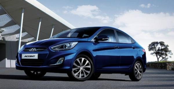 Angular front of the Hyundai Accent