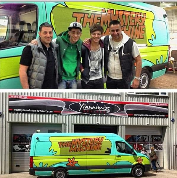 Side view of One Direction Scooby Doo tour bus