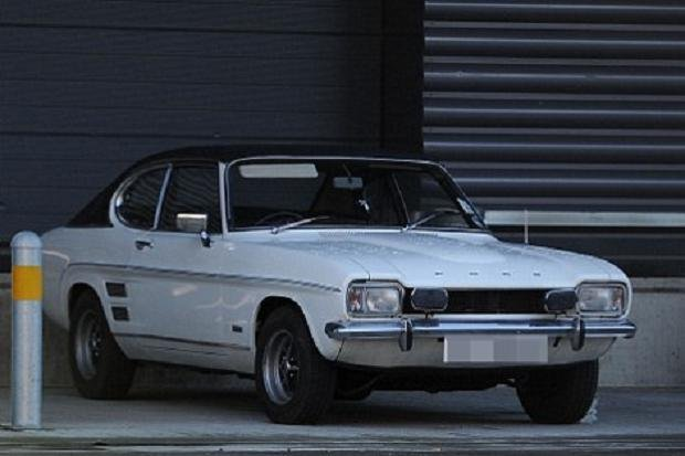 A white Ford Capri 1970 angular front view