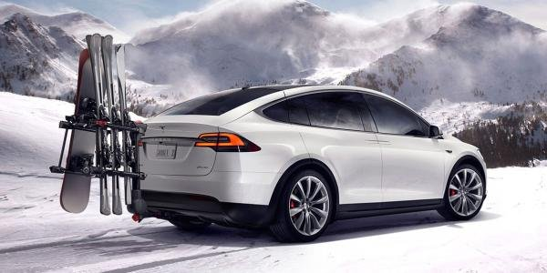 Angular rear of a white Tesla Model X  SUV