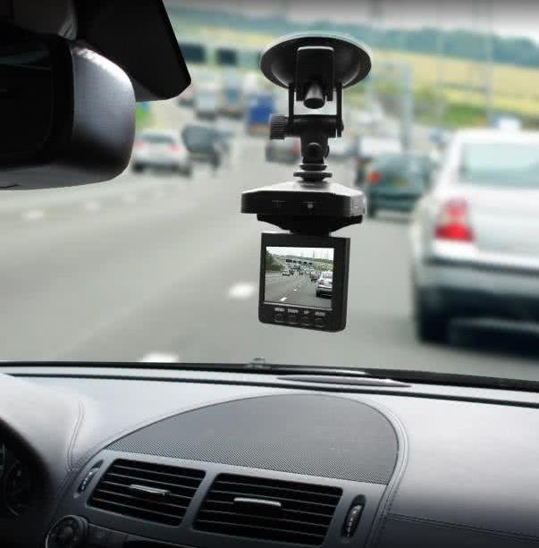 A dashcam in a car