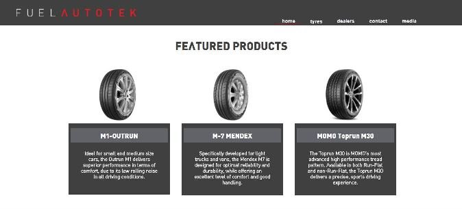 screenshot of feature products web page on fuel autotek website
