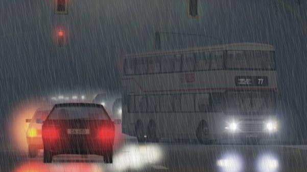 drawing of Traffic in the heavy rain