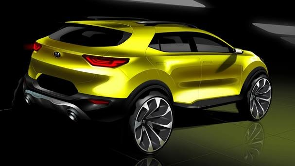 Yellow Kia Stonic rear view