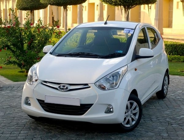 White Hyundai Eon angular front view
