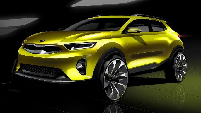 Yellow Kia Stonic angular front view