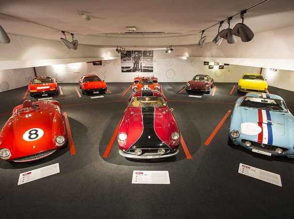 Many Ferrari models on display the museum