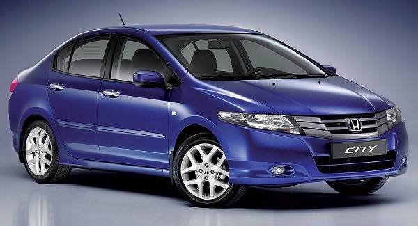 Purple Honda City angular front view
