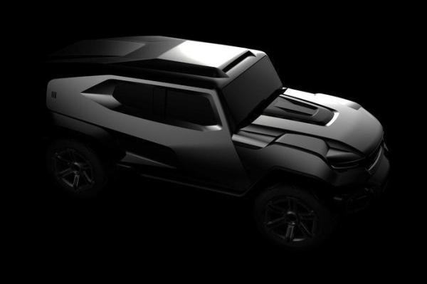 The design sketches of 2017 Rezvani SUV angular front view