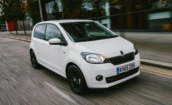 A white Skoda Citigo angular front