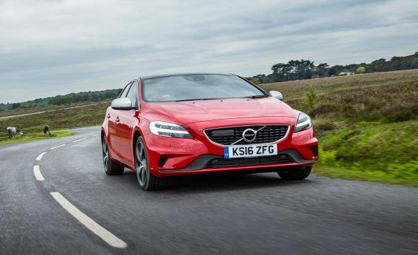 A red Volvo V40 front view