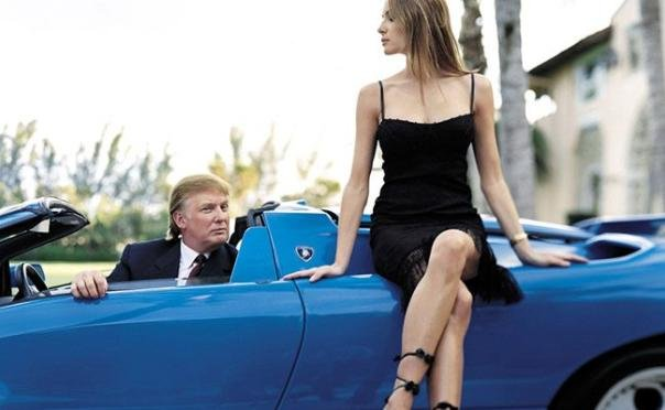 Trump and a girl in a blue Lamborghini Diablo