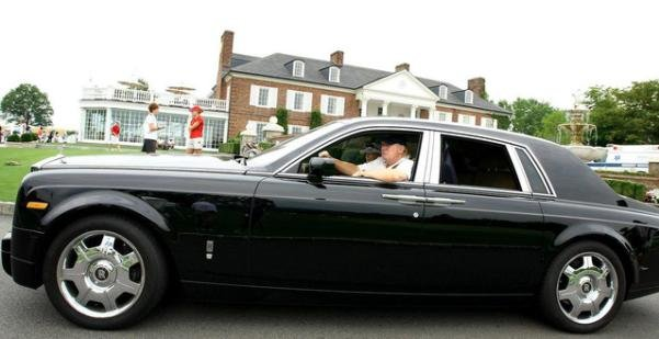 Trump driving in his 2015 Rolls-Royce Phantom