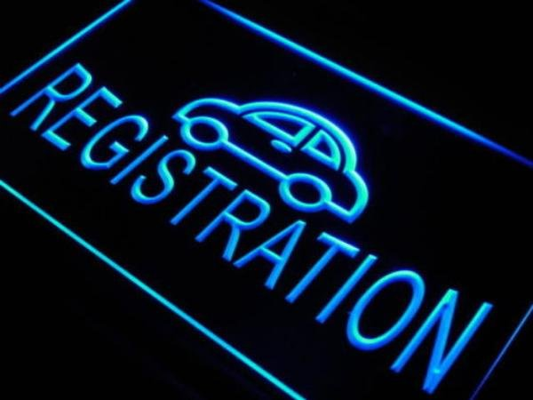 car registration sign