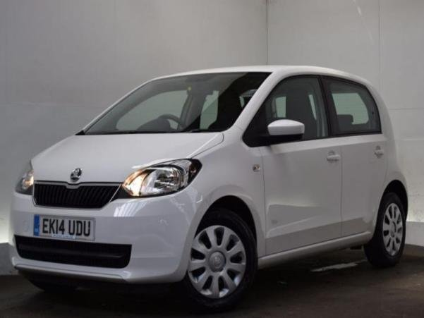 A white Skoda Citigo City Car angular front