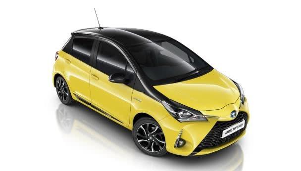 angular front of the Toyota Yaris Yellow Bi-Tone Edition