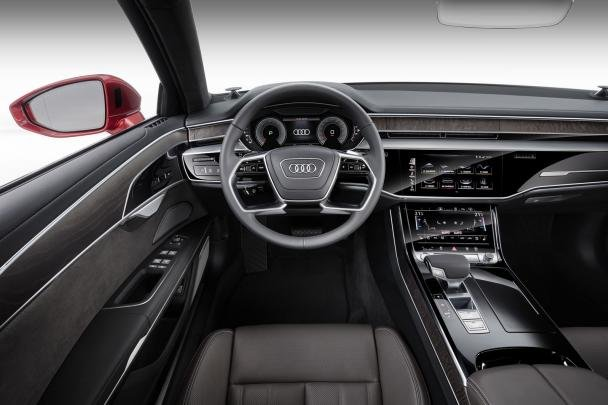driving cabin of the 2018 Audi A8