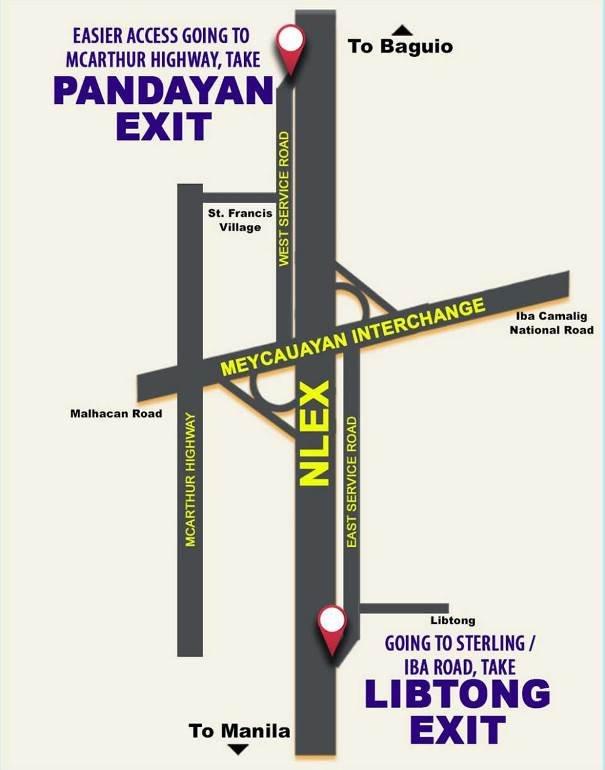 map of the Libtong and Pandyan exit ramps