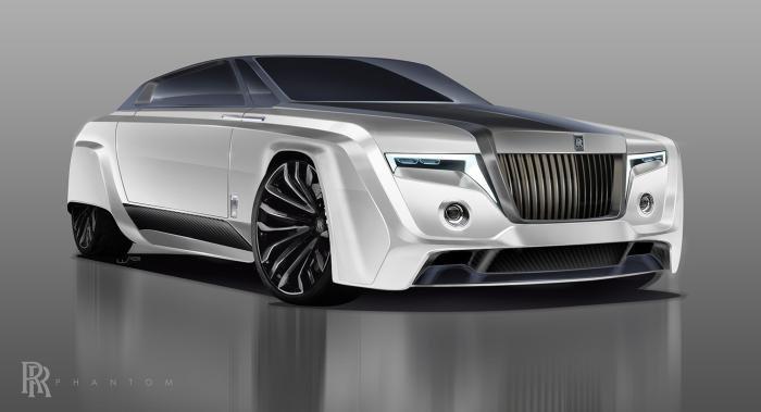 angular front of the 2050 Rolls-Royce Phantom