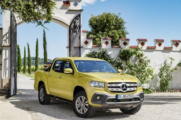 angular front of the Mercedes X-Class pick-up truck