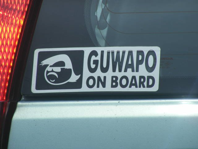 Guwapo on board car sticker a study shows that 48 of filipino men are narcissistic