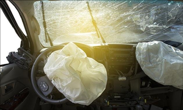 Airbags activated in a car crash