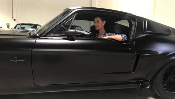 Joey Mead King seating in a 1967 'Eleanor' Ford Mustang