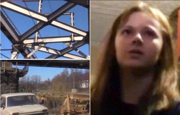 Xenia Ignatyeva and the railway bridge where she fell from