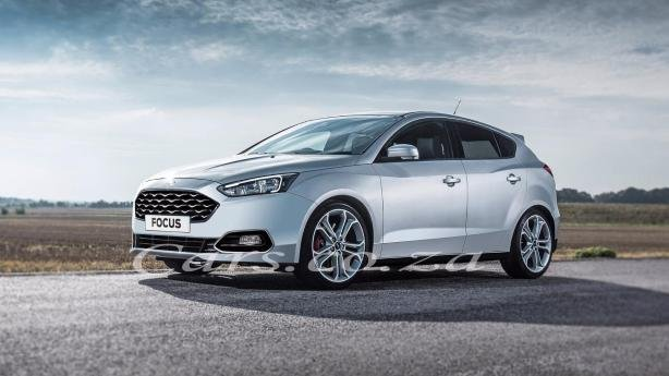 angular front of the rendered 2018 Ford Focus