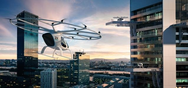 a flying taxi in the sky