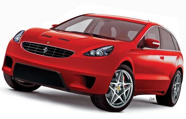 A red Ferrari Suv concept front view