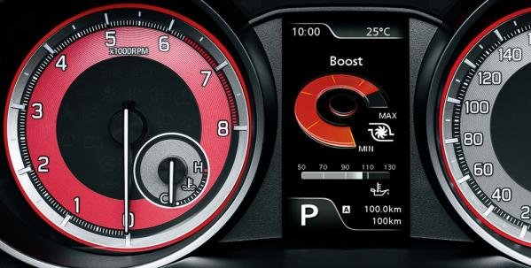 the boost gauge of the Suzuki Swift Sport