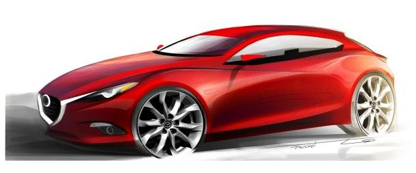 angular front of new Mazda 3 sketch