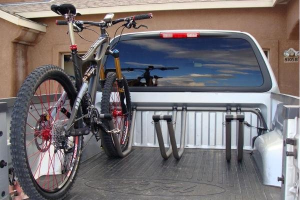 a bike in a pickup bed