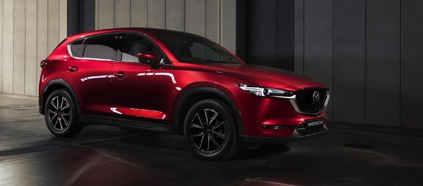 A red Mazda CX-5 angular front view