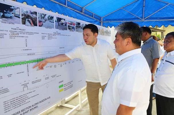 DPWH officers in front of the flood control project's planning map