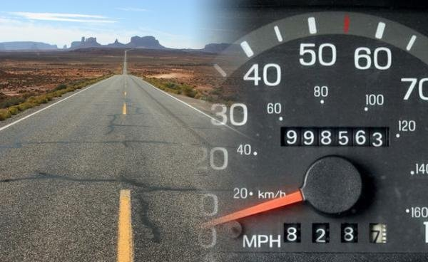 a road and an odometer