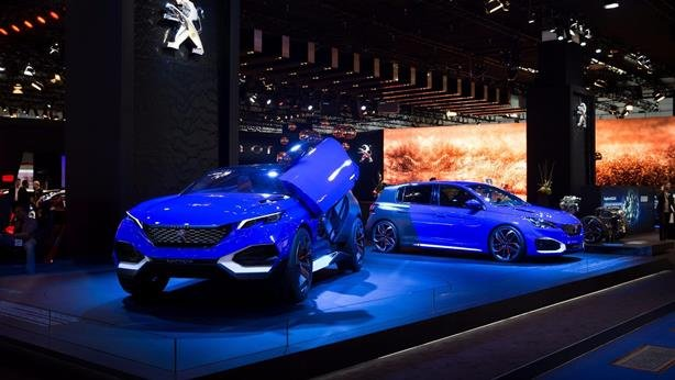 Two blue supercars on display at Frankfurt motor show
